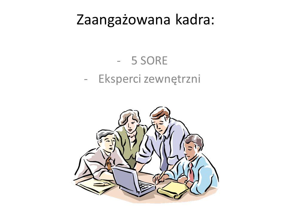 Zaangażowana kadra: -5 SORE -Eksperci zewnętrzni