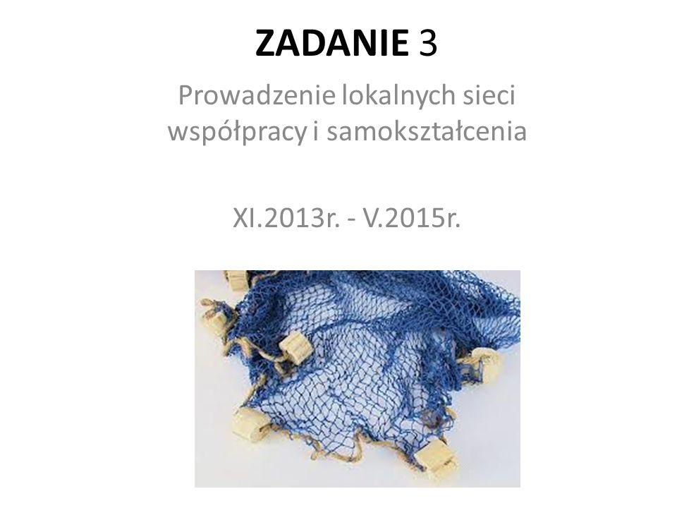 ZADANIE 3 Prowadzenie lokalnych sieci współpracy i samokształcenia XI.2013r. - V.2015r.