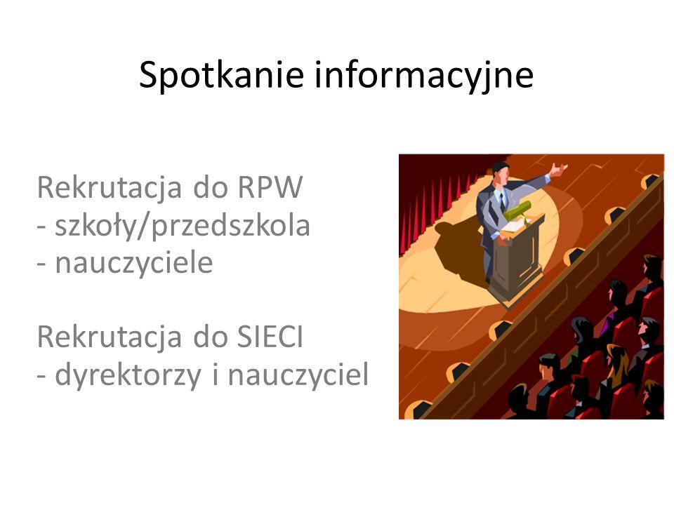 Spotkanie informacyjne Rekrutacja do RPW - szkoły/przedszkola - nauczyciele Rekrutacja do SIECI - dyrektorzy i nauczyciel