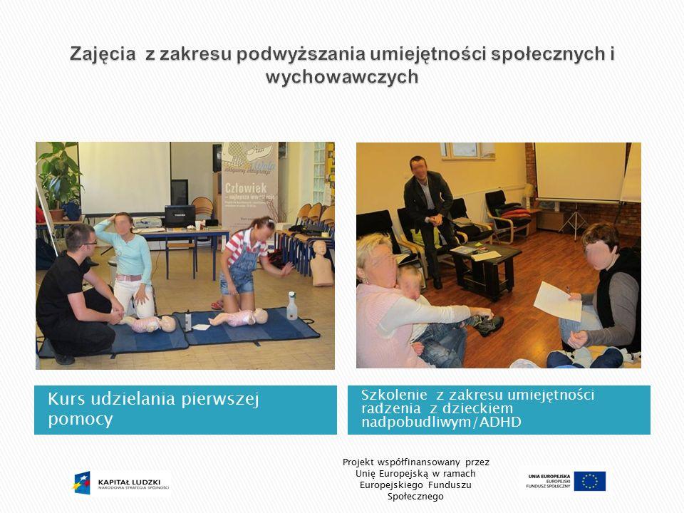 Kurs udzielania pierwszej pomocy Szkolenie z zakresu umiejętności radzenia z dzieckiem nadpobudliwym/ADHD Projekt współfinansowany przez Unię Europejs