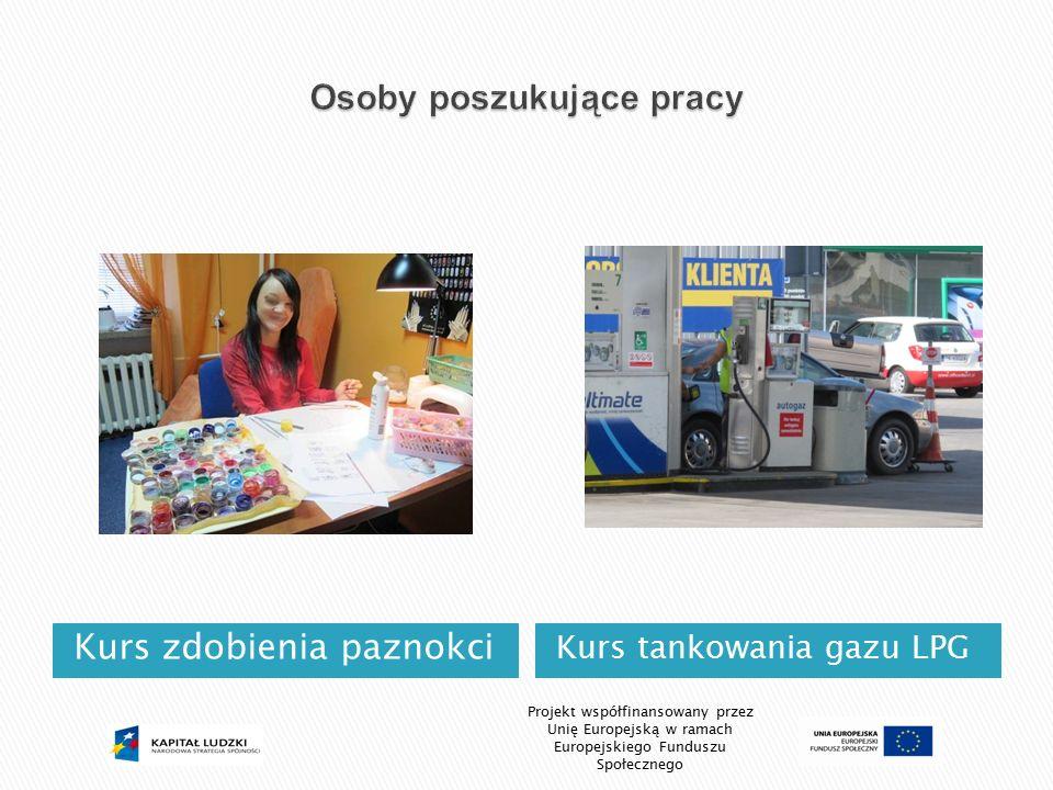 Kurs zdobienia paznokci Kurs tankowania gazu LPG Projekt współfinansowany przez Unię Europejską w ramach Europejskiego Funduszu Społecznego