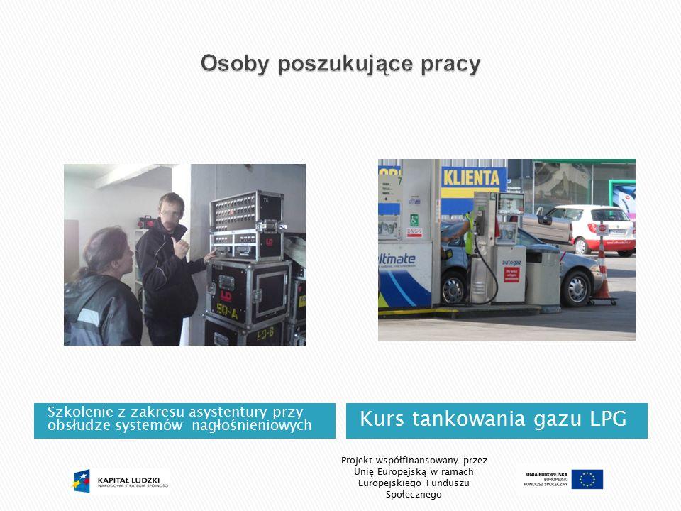 Szkolenie z zakresu asystentury przy obsłudze systemów nagłośnieniowych Kurs tankowania gazu LPG Projekt współfinansowany przez Unię Europejską w rama
