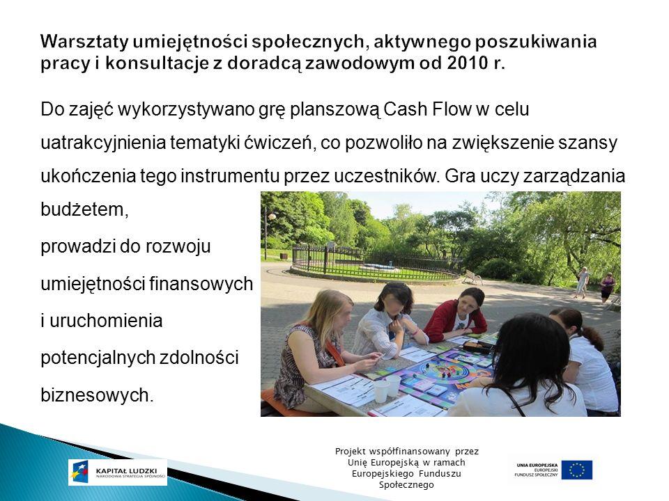 Do zajęć wykorzystywano grę planszową Cash Flow w celu uatrakcyjnienia tematyki ćwiczeń, co pozwoliło na zwiększenie szansy ukończenia tego instrument