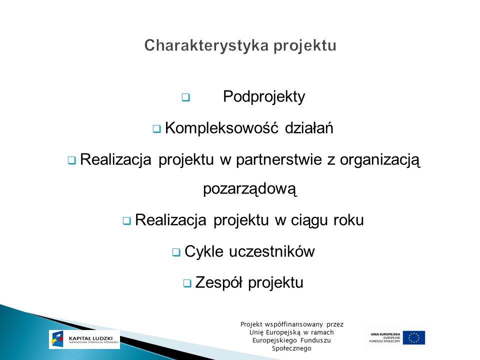  Podprojekty  Kompleksowość działań  Realizacja projektu w partnerstwie z organizacją pozarządową  Realizacja projektu w ciągu roku  Cykle uczest