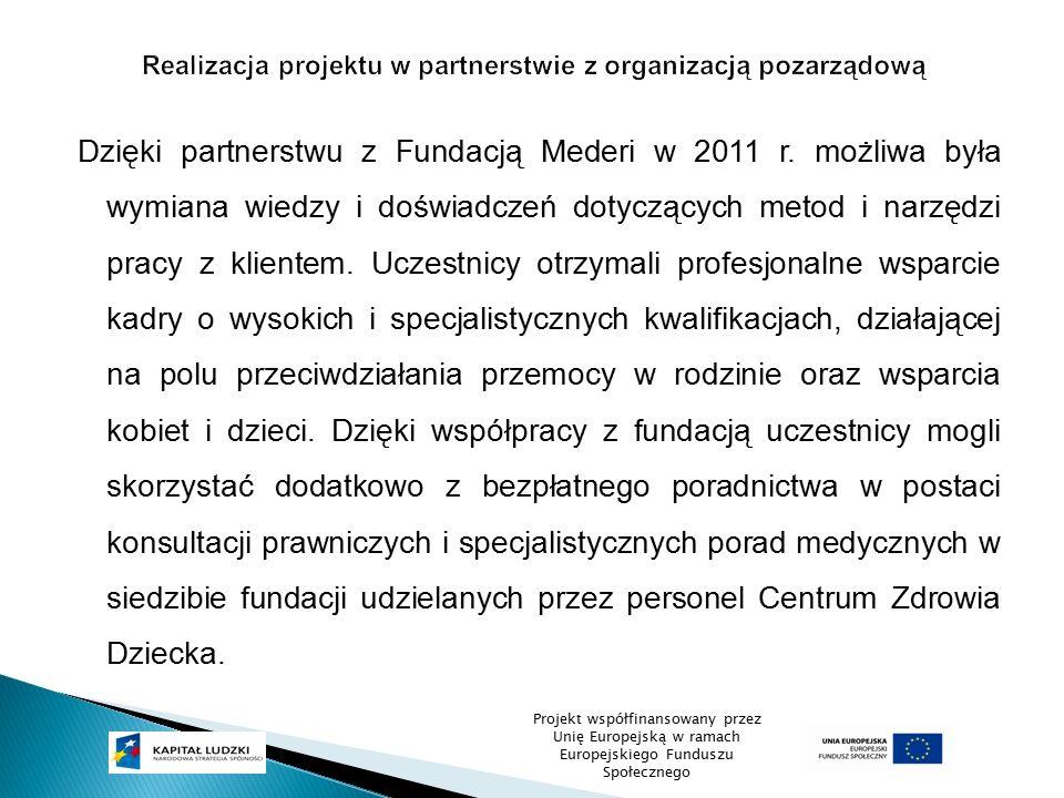 Dzięki partnerstwu z Fundacją Mederi w 2011 r. możliwa była wymiana wiedzy i doświadczeń dotyczących metod i narzędzi pracy z klientem. Uczestnicy otr