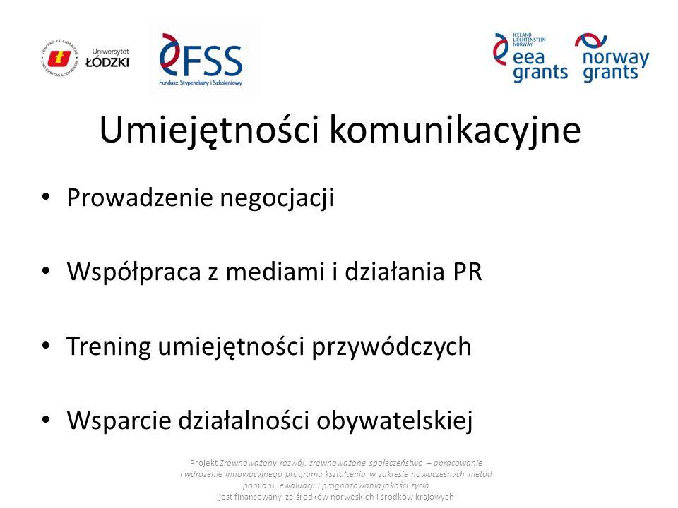 Umiejętności komunikacyjne Prowadzenie negocjacji Współpraca z mediami i działania PR Trening umiejętności przywódczych Wsparcie działalności obywatelskiej Projekt Zrównoważony rozwój, zrównoważone społeczeństwo – opracowanie i wdrożenie innowacyjnego programu kształcenia w zakresie nowoczesnych metod pomiaru, ewaluacji i prognozowania jakości życia jest finansowany ze środków norweskich i środków krajowych
