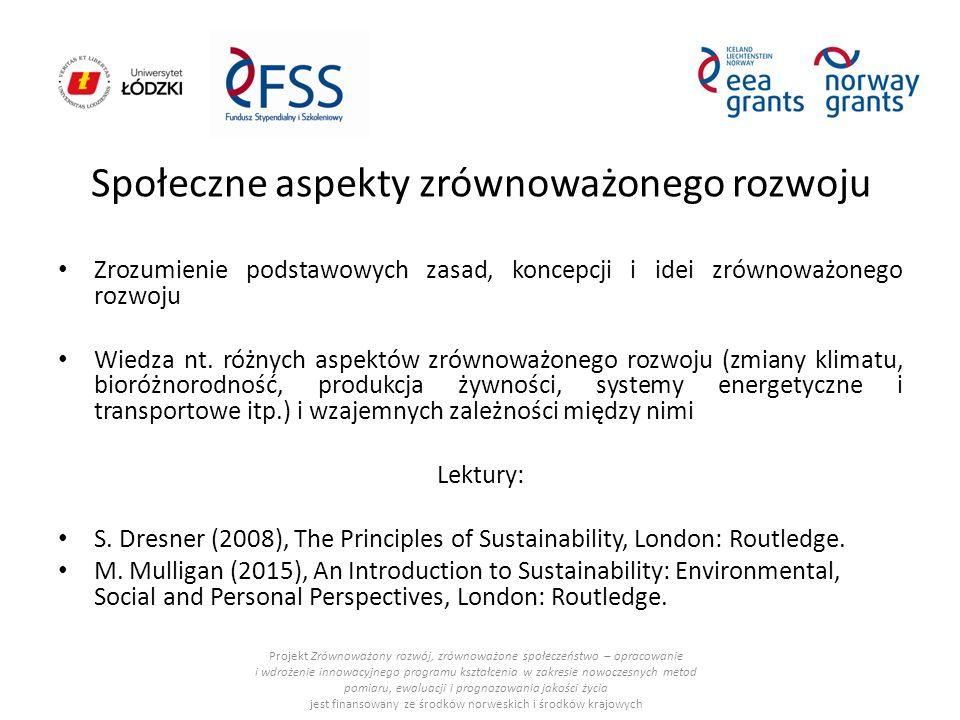 Społeczne aspekty zrównoważonego rozwoju Zrozumienie podstawowych zasad, koncepcji i idei zrównoważonego rozwoju Wiedza nt.