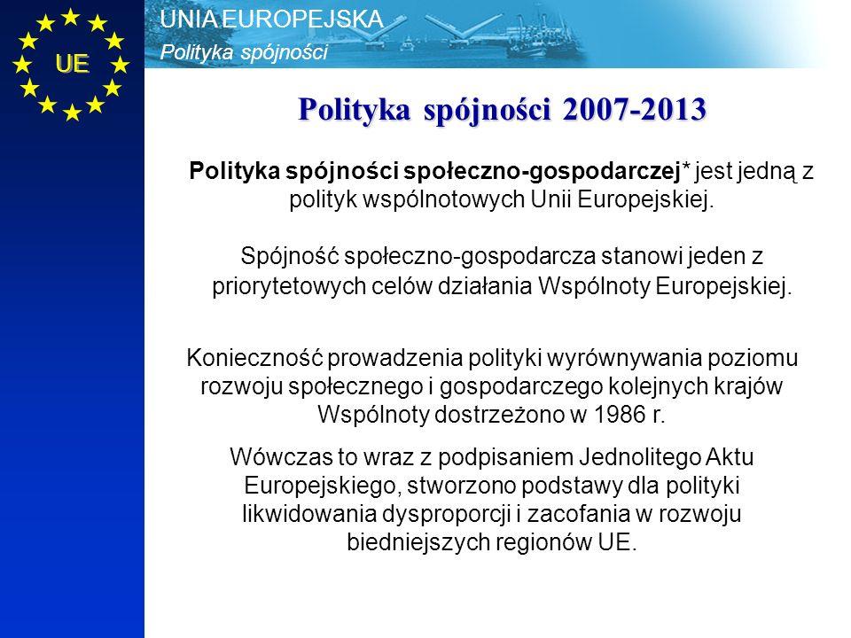 Polityka spójności UNIA EUROPEJSKA UE Zasady polityki spójności: 1)zasada koncentracji - środki płynące z Unii Europejskiej przeznaczane są na osiągnięcie ograniczonej liczby celów i kierowane do regionów, które znajdują się w najtrudniejszej sytuacji ekonomicznej oraz na działania strategicznie istotne 2)zasada partnerstwa - polega na współpracy Komisji Europejskiej z odpowiednimi władzami krajowymi, regionalnymi i lokalnymi zaangażowanymi w programowanie i dystrybucję funduszy unijnych; oznacza także obowiązek współpracy przy wykorzystaniu funduszy organów administracji publicznej z partnerami gospodarczymi i społecznymi