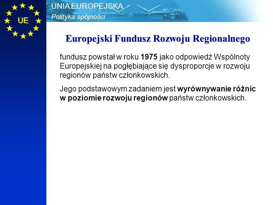 Polityka spójności UNIA EUROPEJSKA UE Europejski Fundusz Rozwoju Regionalnego fundusz powstał w roku 1975 jako odpowiedź Wspólnoty Europejskiej na pogłębiające się dysproporcje w rozwoju regionów państw członkowskich.