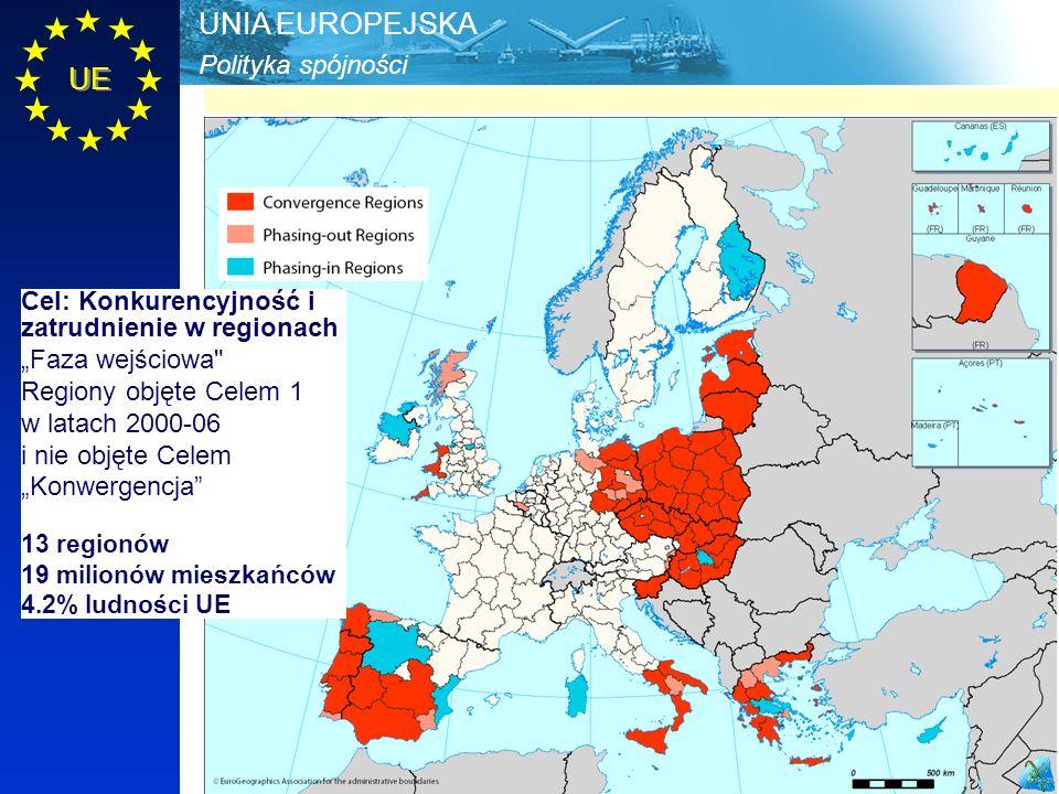 """Polityka spójności UNIA EUROPEJSKA UE Cel: Konkurencyjność i zatrudnienie w regionach """"Faza wejściowa Regiony objęte Celem 1 w latach 2000-06 i nie objęte Celem """"Konwergencja 13 regionów 19 milionów mieszkańców 4.2% ludności UE"""