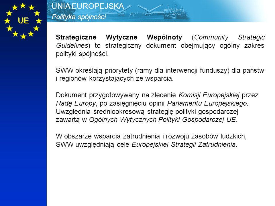 Polityka spójności UNIA EUROPEJSKA UE Strategiczne Wytyczne Wspólnoty (Community Strategic Guidelines) to strategiczny dokument obejmujący ogólny zakres polityki spójności.