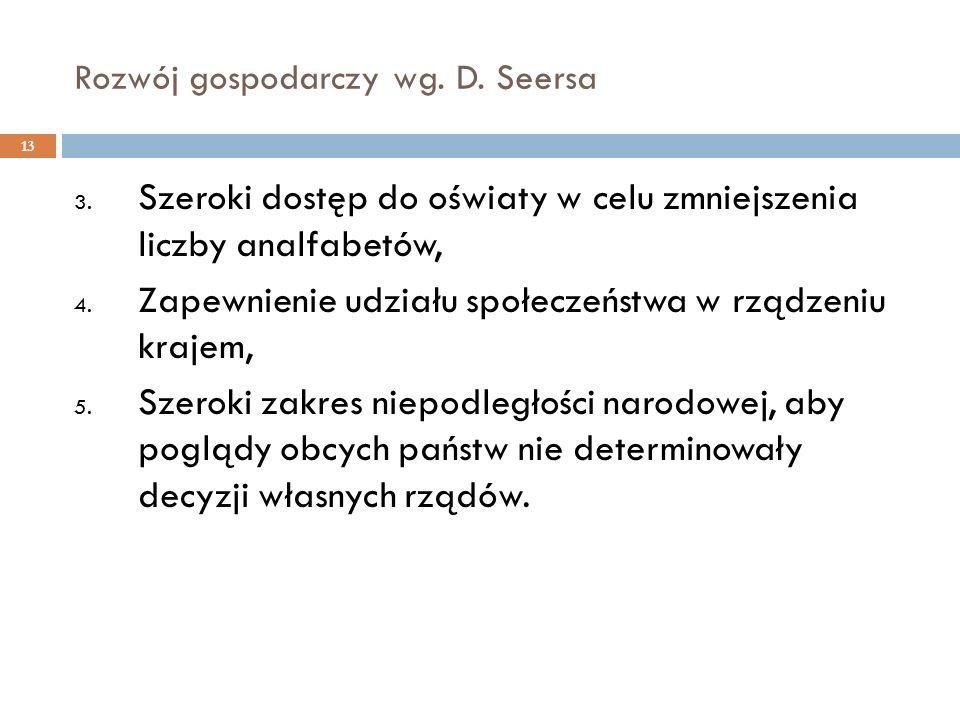Rozwój gospodarczy wg. D. Seersa 3. Szeroki dostęp do oświaty w celu zmniejszenia liczby analfabetów, 4. Zapewnienie udziału społeczeństwa w rządzeniu