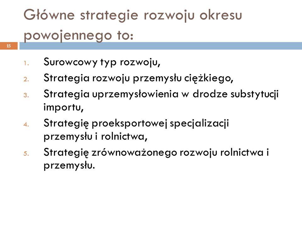 Główne strategie rozwoju okresu powojennego to: 15 1. Surowcowy typ rozwoju, 2. Strategia rozwoju przemysłu ciężkiego, 3. Strategia uprzemysłowienia w