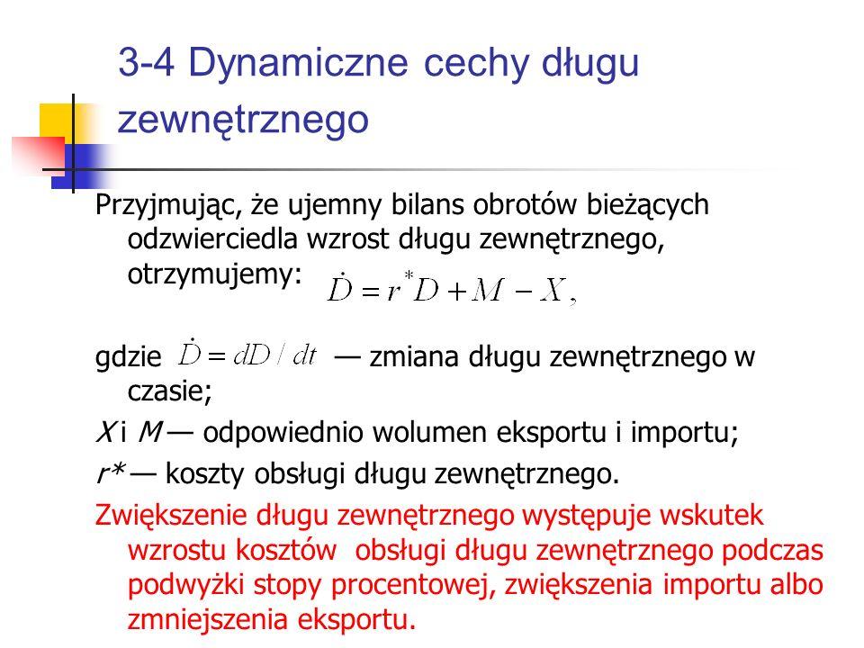 3-4 Dynamiczne cechy długu zewnętrznego Przyjmując, że ujemny bilans obrotów bieżących odzwierciedla wzrost długu zewnętrznego, otrzymujemy: gdzie — z