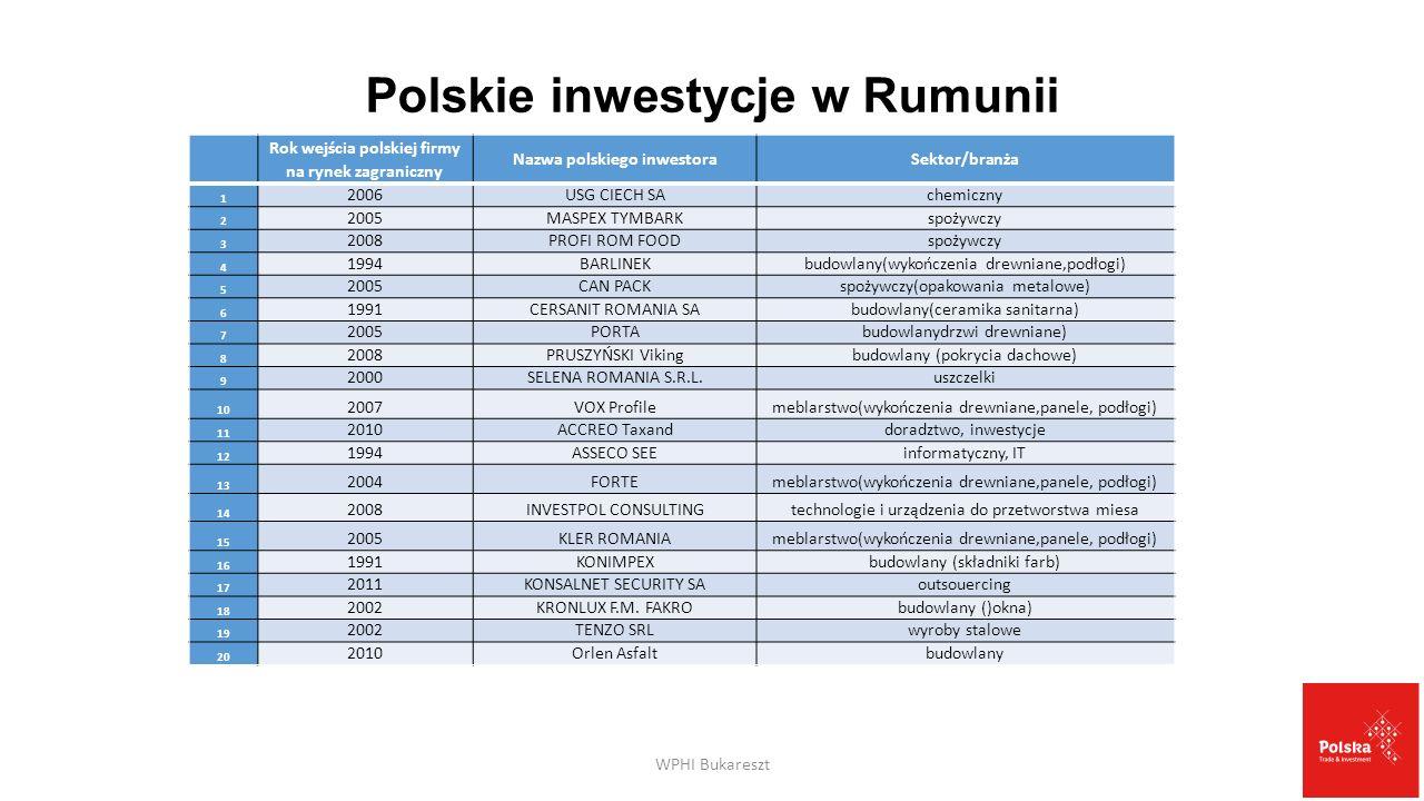 Polskie inwestycje w Rumunii Rok wejścia polskiej firmy na rynek zagraniczny Nazwa polskiego inwestoraSektor/branża 1 2006USG CIECH SAchemiczny 2 2005