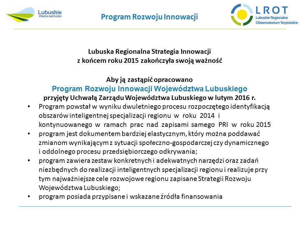 Program Rozwoju Innowacji Lubuska Regionalna Strategia Innowacji z końcem roku 2015 zakończyła swoją ważność Aby ją zastąpić opracowano Program Rozwoju Innowacji Województwa Lubuskiego przyjęty Uchwałą Zarządu Województwa Lubuskiego w lutym 2016 r.