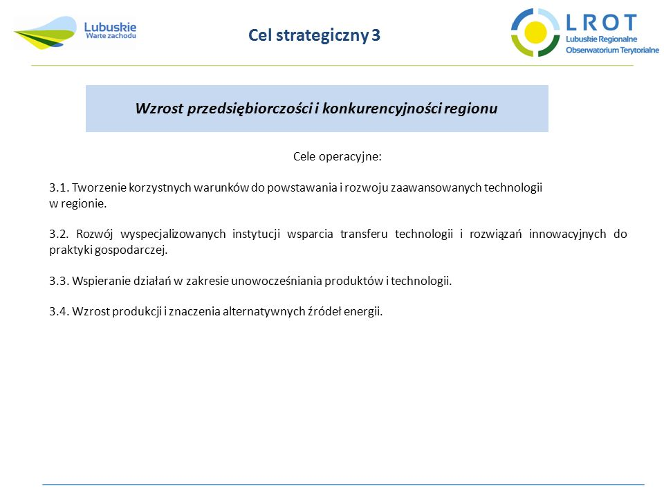 Cel strategiczny 3 Wzrost przedsiębiorczości i konkurencyjności regionu Cele operacyjne: 3.1. Tworzenie korzystnych warunków do powstawania i rozwoju