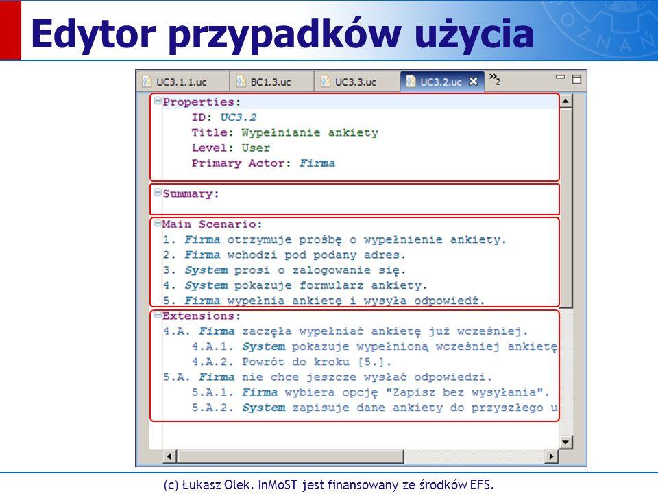 (c) Łukasz Olek. InMoST jest finansowany ze środków EFS. Edytor przypadków użycia