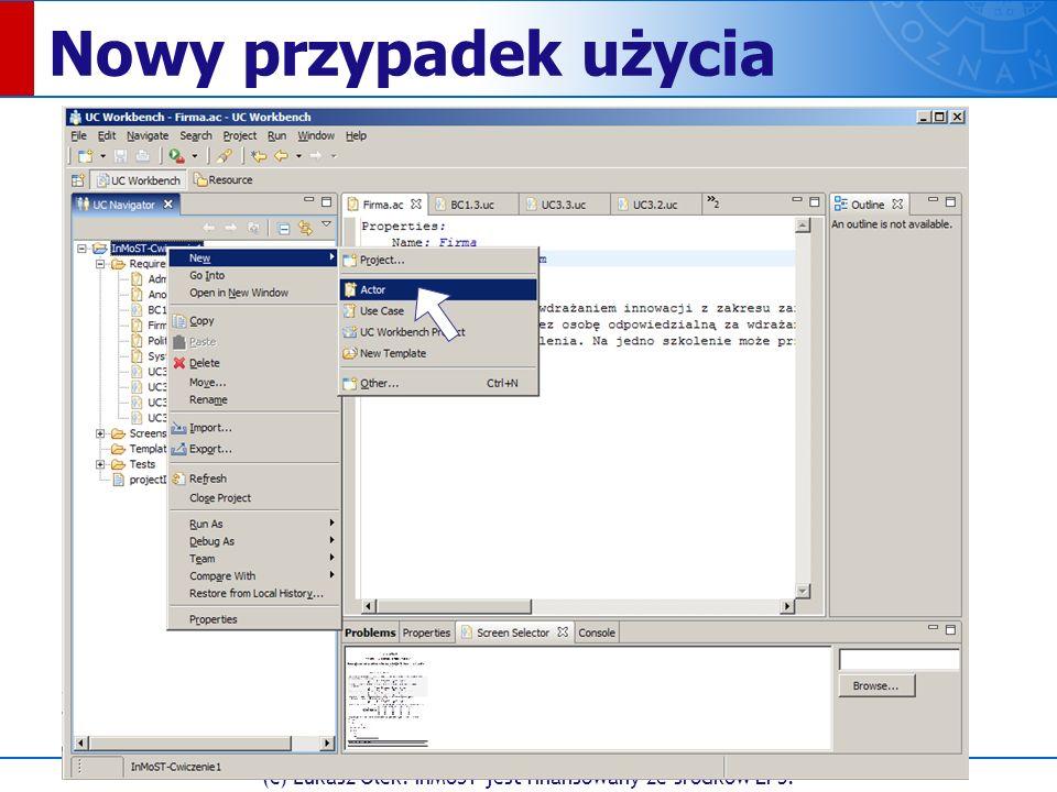 (c) Łukasz Olek. InMoST jest finansowany ze środków EFS. Nowy przypadek użycia