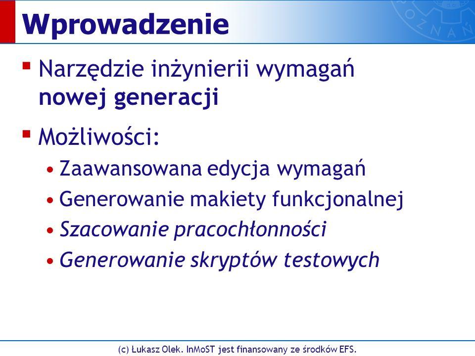 (c) Łukasz Olek. InMoST jest finansowany ze środków EFS. Edycja