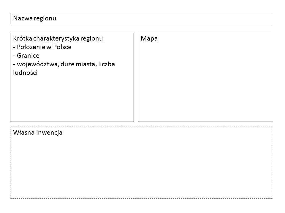 Nazwa regionu Krótka charakterystyka regionu - Położenie w Polsce - Granice - województwa, duże miasta, liczba ludności Mapa Własna inwencja