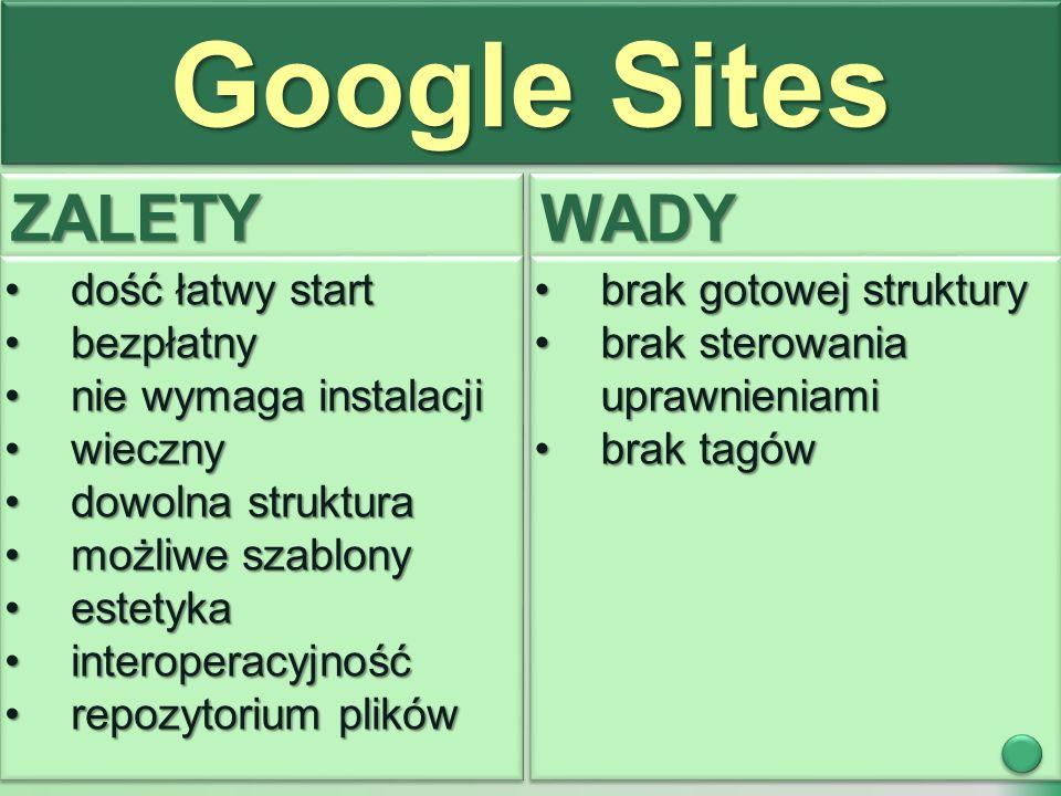 Google Sites ZALETYZALETYWADYWADY dość łatwy startdość łatwy start bezpłatnybezpłatny nie wymaga instalacjinie wymaga instalacji wiecznywieczny dowolna strukturadowolna struktura możliwe szablonymożliwe szablony estetykaestetyka interoperacyjnośćinteroperacyjność repozytorium plikówrepozytorium plików dość łatwy startdość łatwy start bezpłatnybezpłatny nie wymaga instalacjinie wymaga instalacji wiecznywieczny dowolna strukturadowolna struktura możliwe szablonymożliwe szablony estetykaestetyka interoperacyjnośćinteroperacyjność repozytorium plikówrepozytorium plików brak gotowej strukturybrak gotowej struktury brak sterowania uprawnieniamibrak sterowania uprawnieniami brak tagówbrak tagów brak gotowej strukturybrak gotowej struktury brak sterowania uprawnieniamibrak sterowania uprawnieniami brak tagówbrak tagów