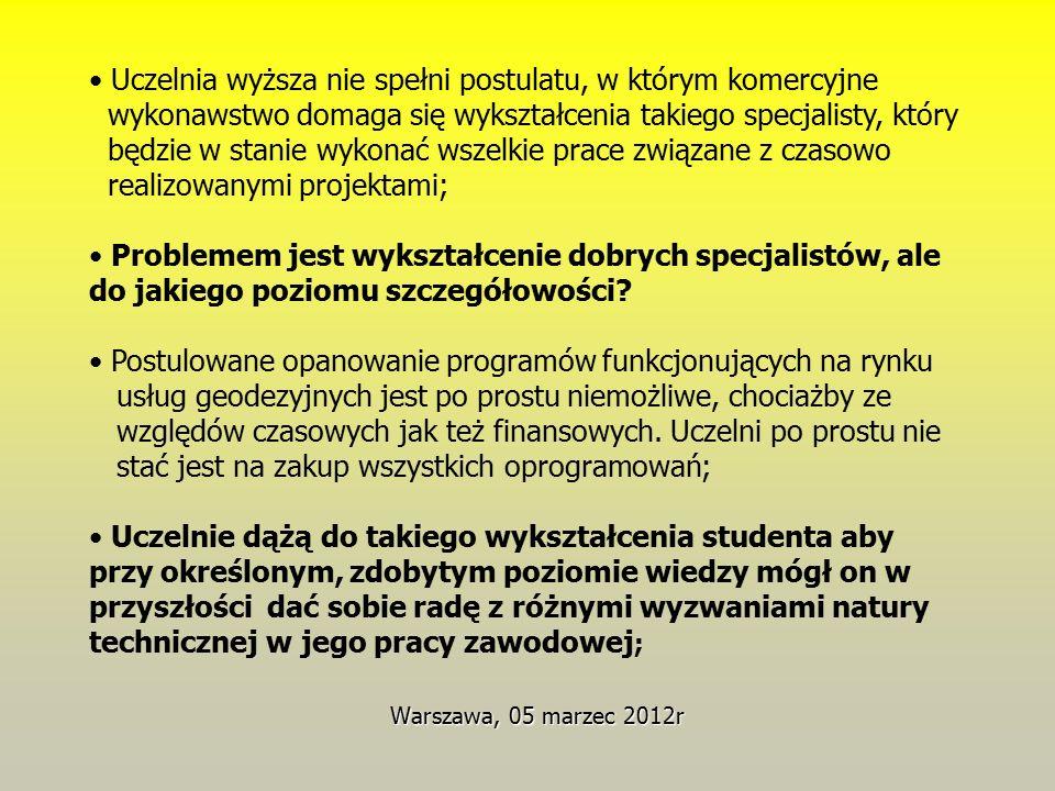 Warszawa, 05 marzec 2012r Uczelnia wyższa nie spełni postulatu, w którym komercyjne wykonawstwo domaga się wykształcenia takiego specjalisty, który będzie w stanie wykonać wszelkie prace związane z czasowo realizowanymi projektami; Problemem jest wykształcenie dobrych specjalistów, ale do jakiego poziomu szczegółowości.