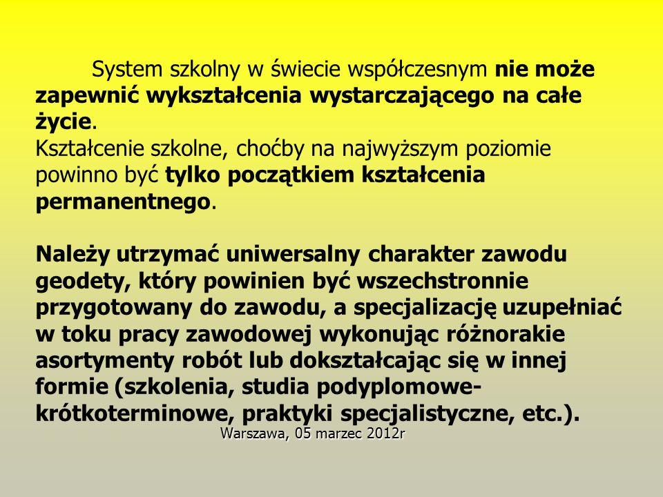 Warszawa, 05 marzec 2012r System szkolny w świecie współczesnym nie może zapewnić wykształcenia wystarczającego na całe życie. Kształcenie szkolne, ch