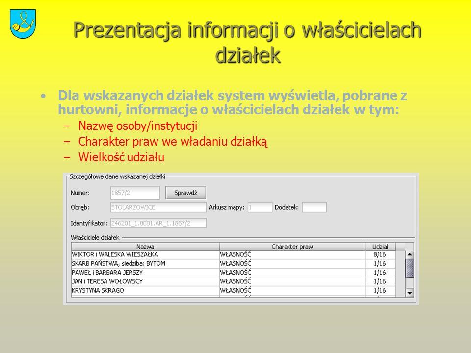 Prezentacja informacji o właścicielach działek Dla wskazanych działek system wyświetla, pobrane z hurtowni, informacje o właścicielach działek w tym: