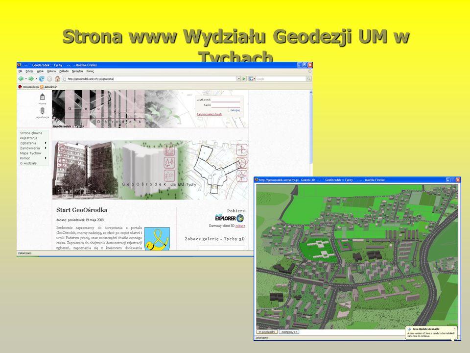 Strona www Wydziału Geodezji UM w Tychach