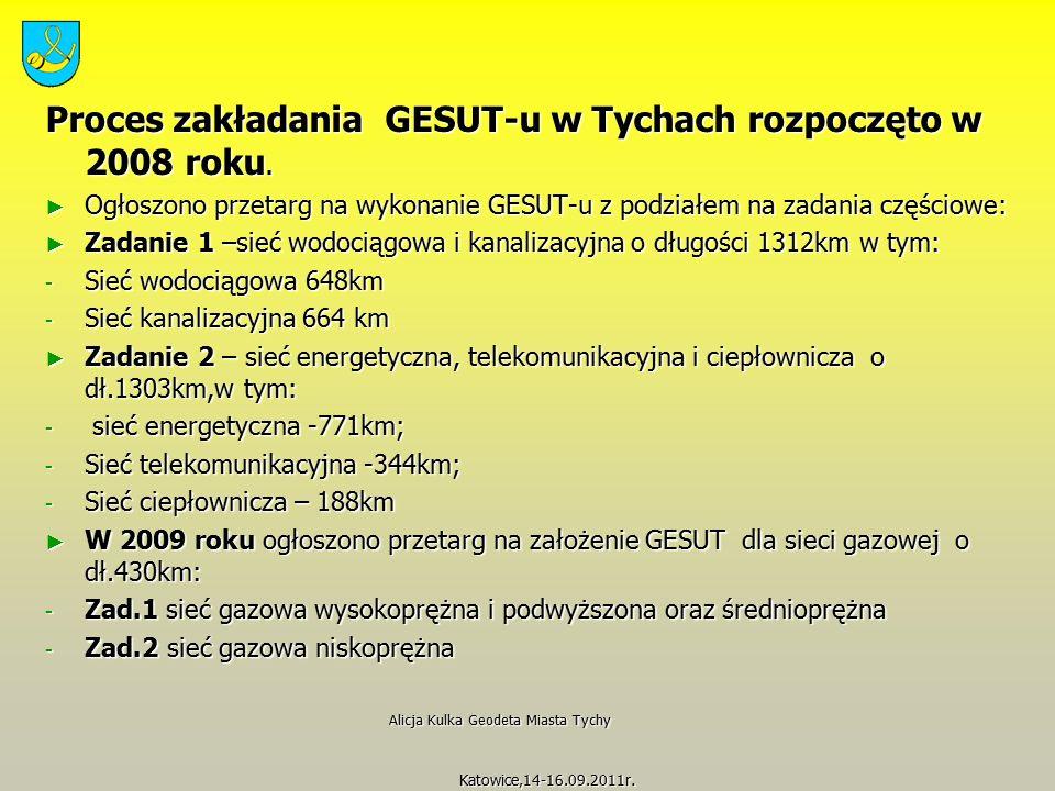 Proces zakładania GESUT-u w Tychach rozpoczęto w 2008 roku. ► Ogłoszono przetarg na wykonanie GESUT-u z podziałem na zadania częściowe: ► Zadanie 1 –s