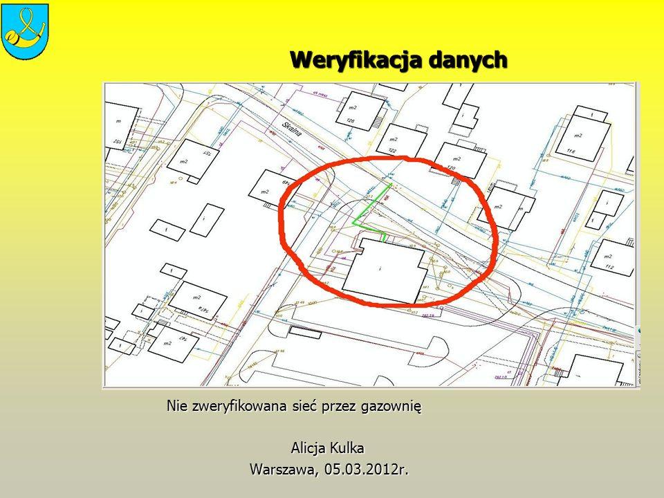 Weryfikacja danych Weryfikacja danych Nie zweryfikowana sieć przez gazownię Nie zweryfikowana sieć przez gazownię Alicja Kulka Alicja Kulka Warszawa,
