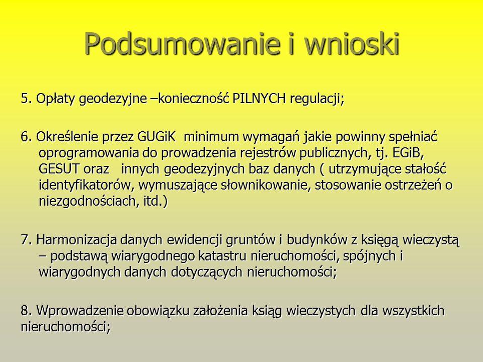 Podsumowanie i wnioski 5. Opłaty geodezyjne –konieczność PILNYCH regulacji; 6.
