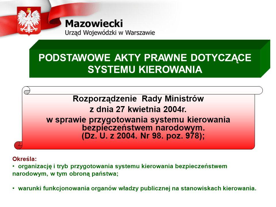 PODSTAWOWE AKTY PRAWNE DOTYCZĄCE SYSTEMU KIEROWANIA Rozporządzenie Rady Ministrów z dnia 27 kwietnia 2004r. w sprawie przygotowania systemu kierowania