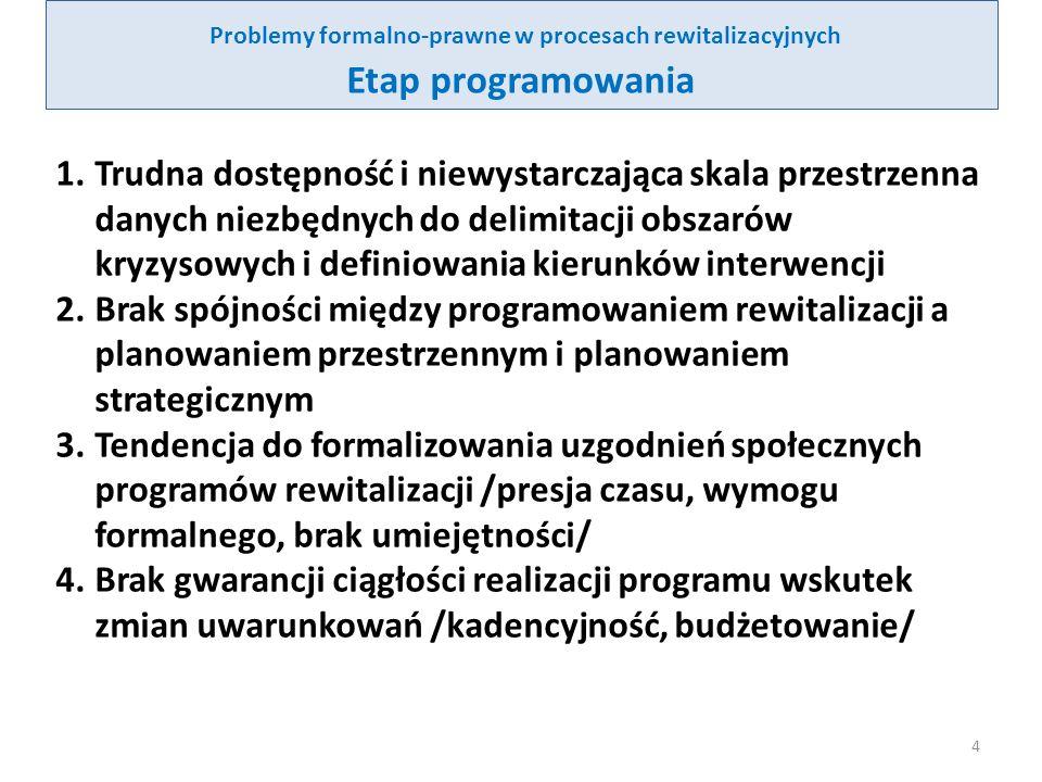 Problemy formalno-prawne w procesach rewitalizacyjnych Etap programowania - cd 5.