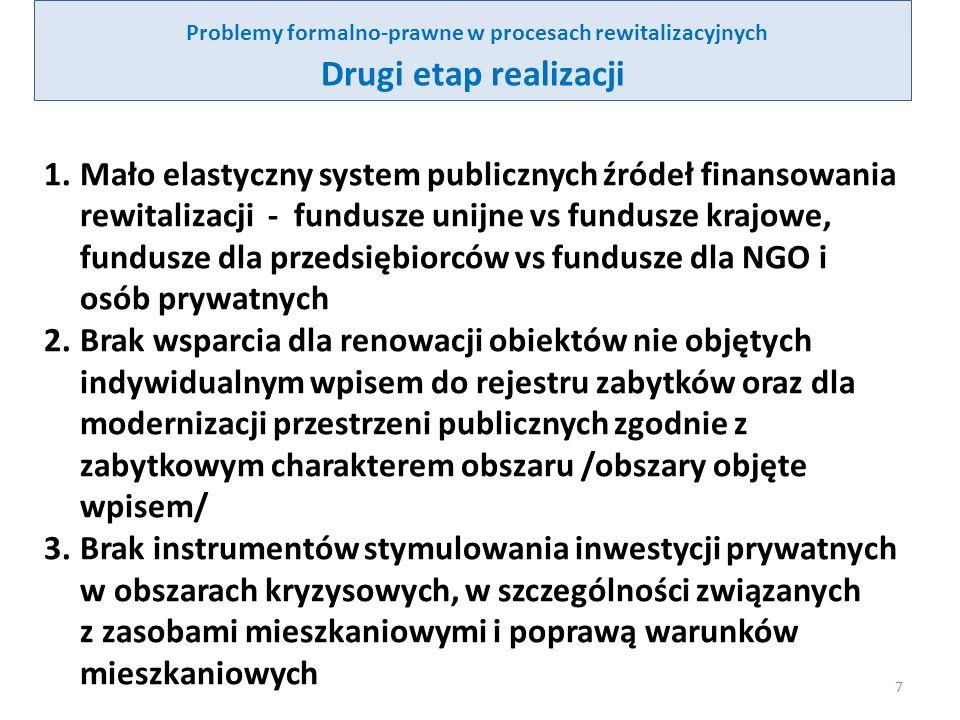 Problemy formalno-prawne w procesach rewitalizacyjnych Drugi etap realizacji - cd 4.