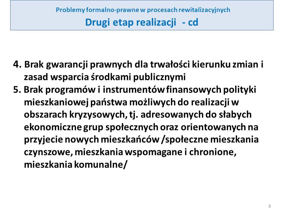 Problemy formalno-prawne w procesach rewitalizacyjnych Drugi etap realizacji (cd.