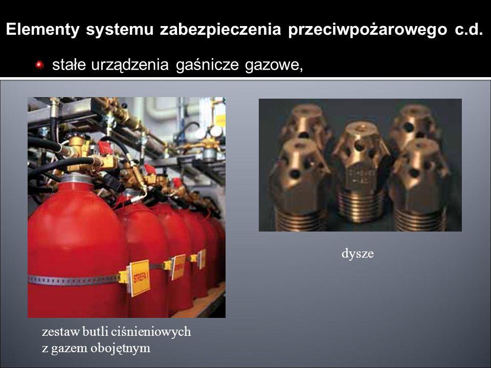 stałe urządzenia gaśnicze gazowe, zestaw butli ciśnieniowych z gazem obojętnym dysze Elementy systemu zabezpieczenia przeciwpożarowego c.d.