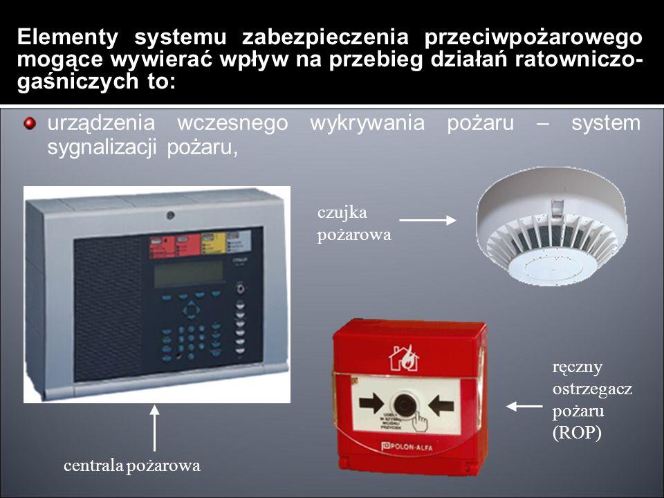 Elementy systemu zabezpieczenia przeciwpożarowego mogące wywierać wpływ na przebieg działań ratowniczo- gaśniczych to: urządzenia wczesnego wykrywania pożaru – system sygnalizacji pożaru, centrala pożarowa ręczny ostrzegacz pożaru (ROP) czujka pożarowa