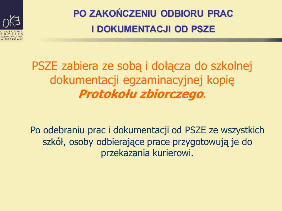 PSZE zabiera ze sobą i dołącza do szkolnej dokumentacji egzaminacyjnej kopię Protokołu zbiorczego. Po odebraniu prac i dokumentacji od PSZE ze wszystk