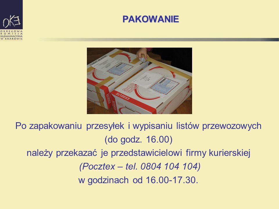 PAKOWANIE Po zapakowaniu przesyłek i wypisaniu listów przewozowych (do godz. 16.00) należy przekazać je przedstawicielowi firmy kurierskiej (Pocztex –