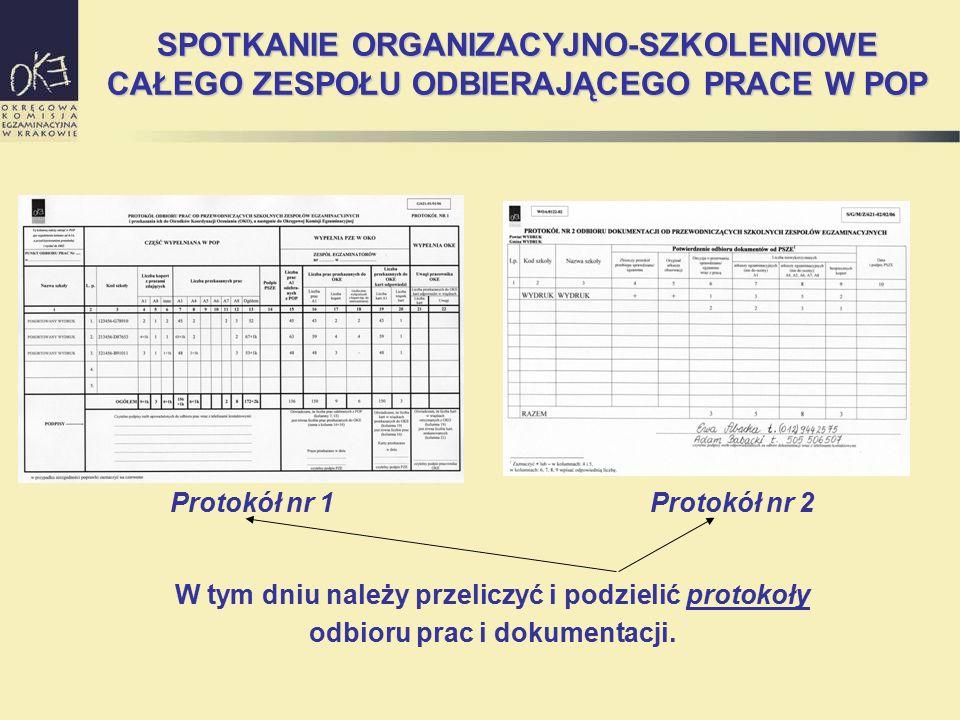 SPOTKANIE ORGANIZACYJNO-SZKOLENIOWE CAŁEGO ZESPOŁU ODBIERAJĄCEGO PRACE W POP Protokół nr 1Protokół nr 2 W tym dniu należy przeliczyć i podzielić proto