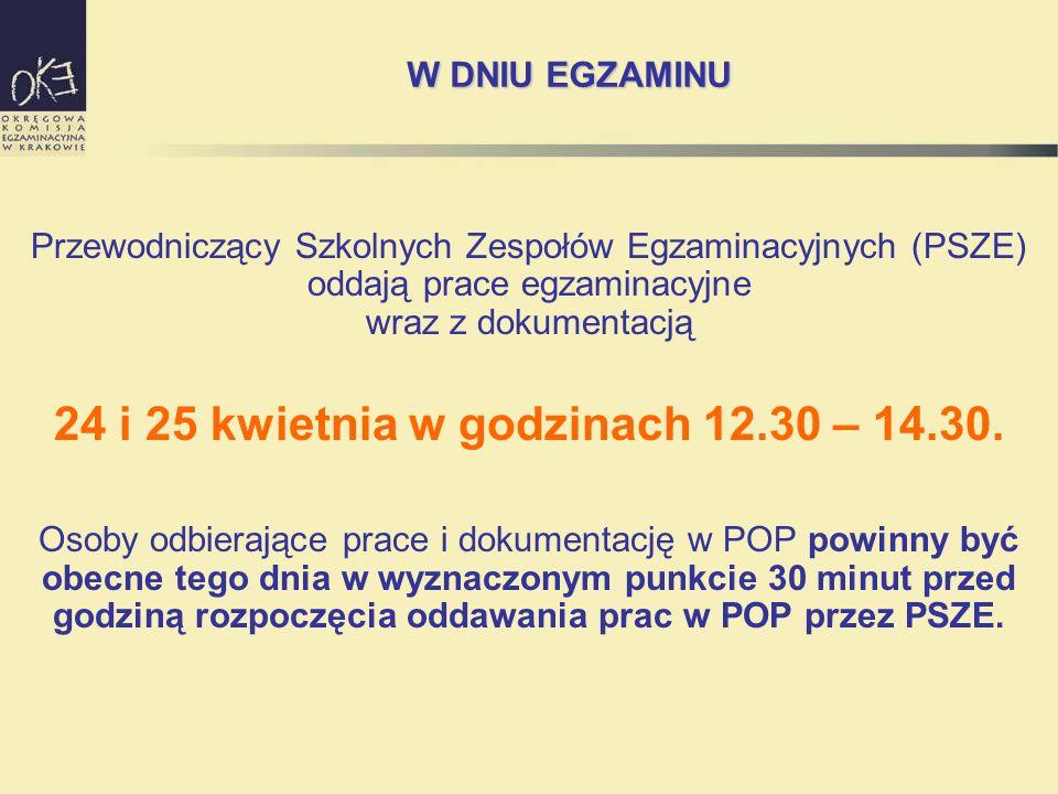 W DNIU EGZAMINU Przewodniczący Szkolnych Zespołów Egzaminacyjnych (PSZE) oddają prace egzaminacyjne wraz z dokumentacją 24 i 25 kwietnia w godzinach 12.30 – 14.30.