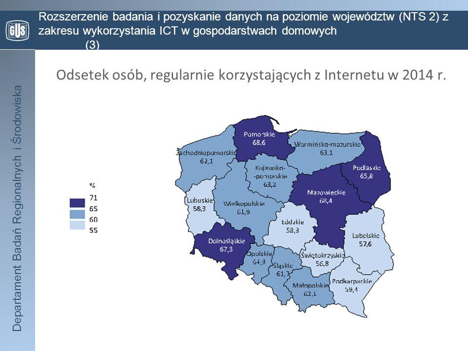 Departament Badań Regionalnych i Środowiska Rozszerzenie badania i pozyskanie danych na poziomie województw (NTS 2) z zakresu wykorzystania ICT w gosp