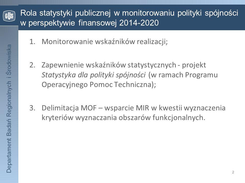 Departament Badań Regionalnych i Środowiska Rola statystyki publicznej w monitorowaniu polityki spójności w perspektywie finansowej 2014-2020 2 1.Moni