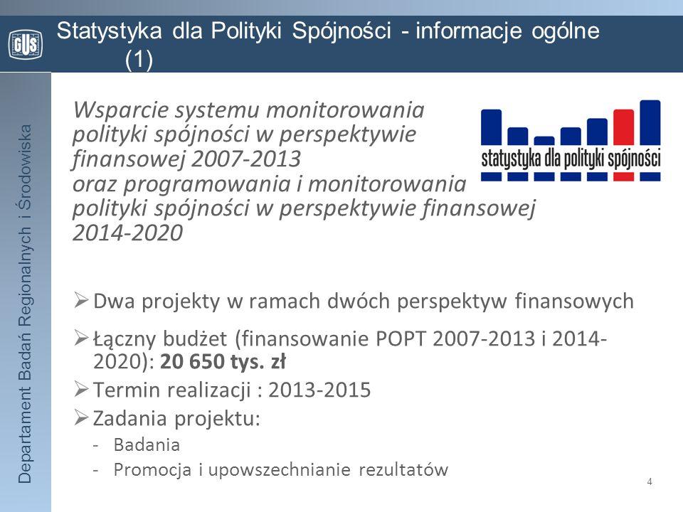 Departament Badań Regionalnych i Środowiska Statystyka dla Polityki Spójności - informacje ogólne (1) Wsparcie systemu monitorowania polityki spójnośc