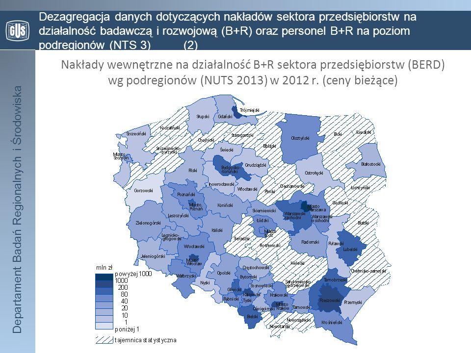 Departament Badań Regionalnych i Środowiska Dezagregacja danych dotyczących nakładów sektora przedsiębiorstw na działalność badawczą i rozwojową (B+R) oraz personel B+R na poziom podregionów (NTS 3) (3) Zatrudnienie w działalności B+R sektora przedsiębiorstw wg podregionów (NUTS 2013) w 2012 r.