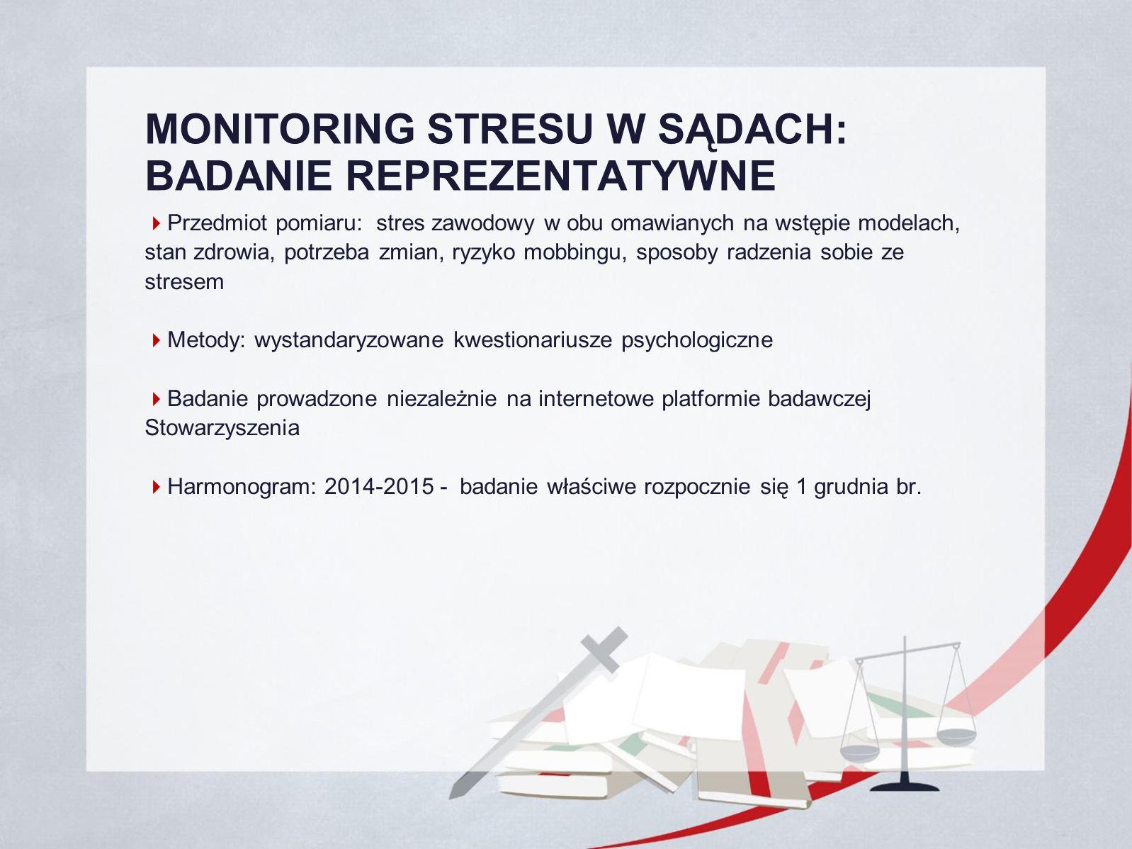 MONITORING STRESU W SĄDACH: BADANIE REPREZENTATYWNE  Przedmiot pomiaru: stres zawodowy w obu omawianych na wstępie modelach, stan zdrowia, potrzeba zmian, ryzyko mobbingu, sposoby radzenia sobie ze stresem  Metody: wystandaryzowane kwestionariusze psychologiczne  Badanie prowadzone niezależnie na internetowe platformie badawczej Stowarzyszenia  Harmonogram: 2014-2015 - badanie właściwe rozpocznie się 1 grudnia br.