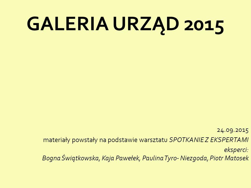 GALERIA URZĄD 2015 24.09.2015 materiały powstały na podstawie warsztatu SPOTKANIE Z EKSPERTAMI eksperci: Bogna Świątkowska, Kaja Pawełek, Paulina Tyro