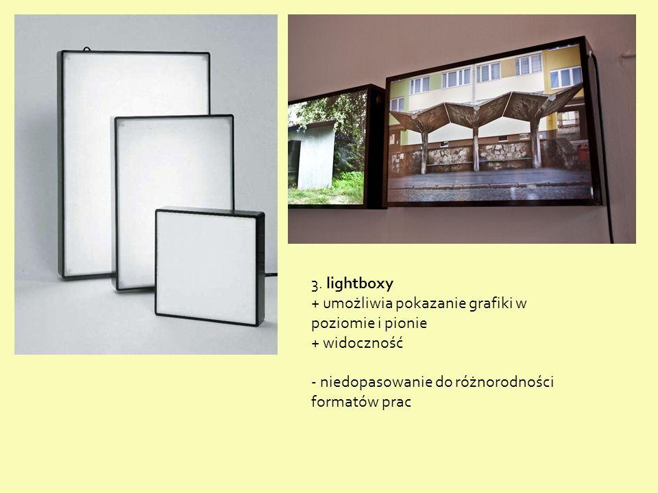 3. lightboxy + umożliwia pokazanie grafiki w poziomie i pionie + widoczność - niedopasowanie do różnorodności formatów prac
